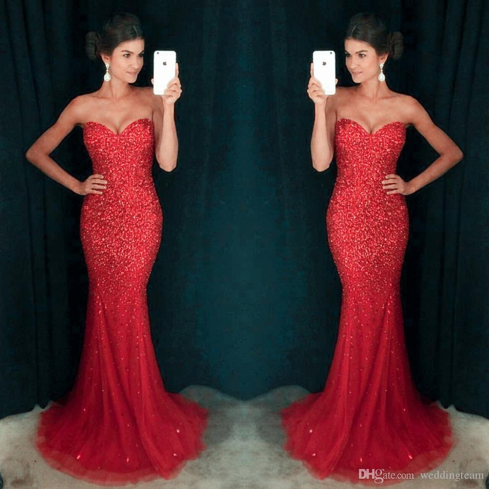 Elegant Red Mermaid Tulle Prom Dresses Sweetheart Long Off Shoulder Formal Evening Wear Beads And Sequins Runway Evening Gowns For Womens