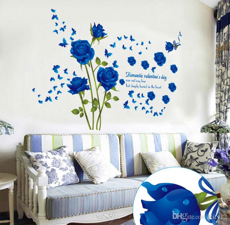 Wholesale Blue Flower Mural Rose 3d Wall Stickers Photo Mural Wallpaper for Sofa TV Background Room Murals