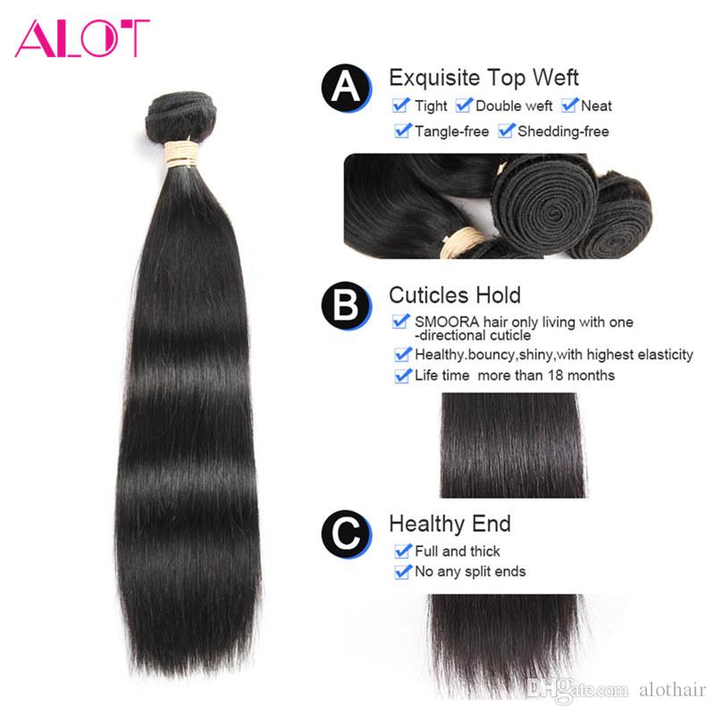 Brazilian Hair Bundles Straight Hair Weaves 4 Bundles with Closure Natural Color 100% Unprocessed Brazilian Human Hair Lace Closure