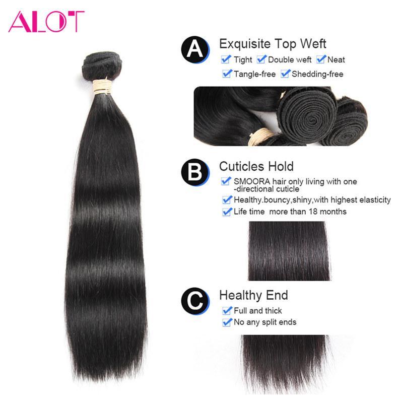 Peruvian Virgin Hair 3 Bundles Straight Hair Weaves 360 Lace Frontal with Bundles Natural Color 100% Unprocessed Remy Human Hair Bundles