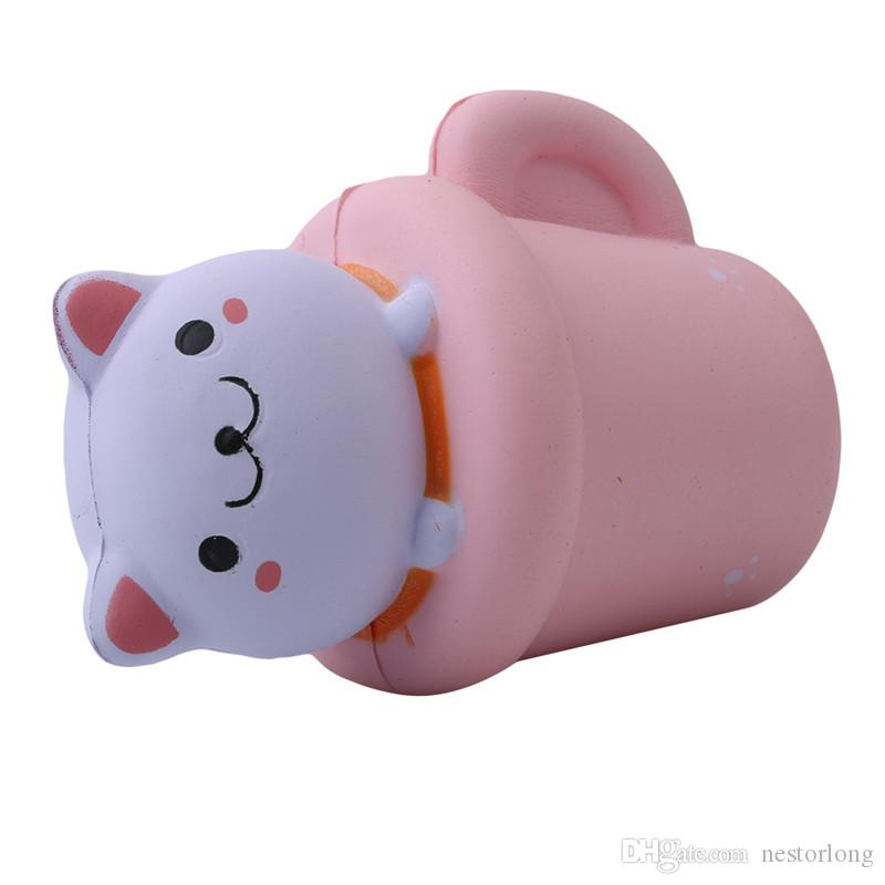 Recién llegado Jumbo Squishies Kawaii Cup Cat Pussy Squeeze Cute Animal Slow Rising Scented Bread Cake Kid Toy Gift Doll
