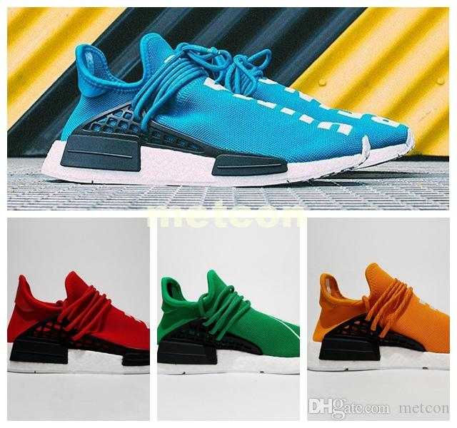 detailed pictures 7a21e c7842 New 2018 Cheap Men Women Wholesale NMD HUMAN RACE Pharrell Williams  Discount Classic Fashion 2019 Running Sport Shoes yellow us size 5-10