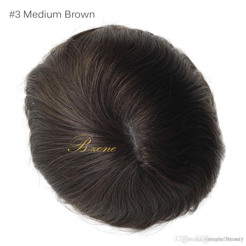 Hot sale 6x8 Inch 100% Indian Human Hair Mens Toupee Hair System Hairpiece For Men Mono base with PU around