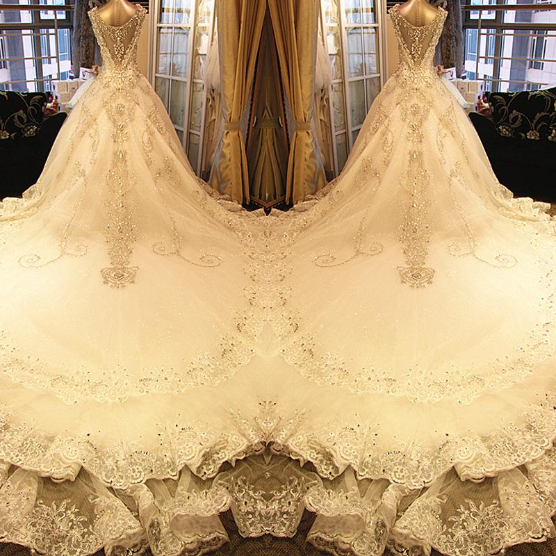 2017 Luxury Deep V Collar Diamond Wedding Dress Sleeveless Organza ...