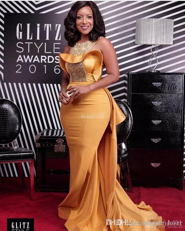 Sereia Sexy Vestidos de Noite Do Pescoço Da Colher De Cristal Frisado Cetim Empoeirado Amarelo Plus Size Celebrity Dresses Mulheres Africanas Vestidos de Noite Formal
