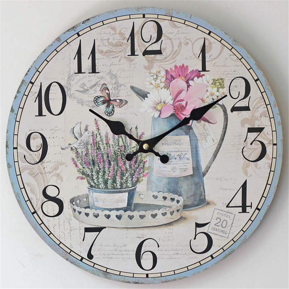Wall Clock Flower Numbers Retro Vintage Wood Home Decor Chic