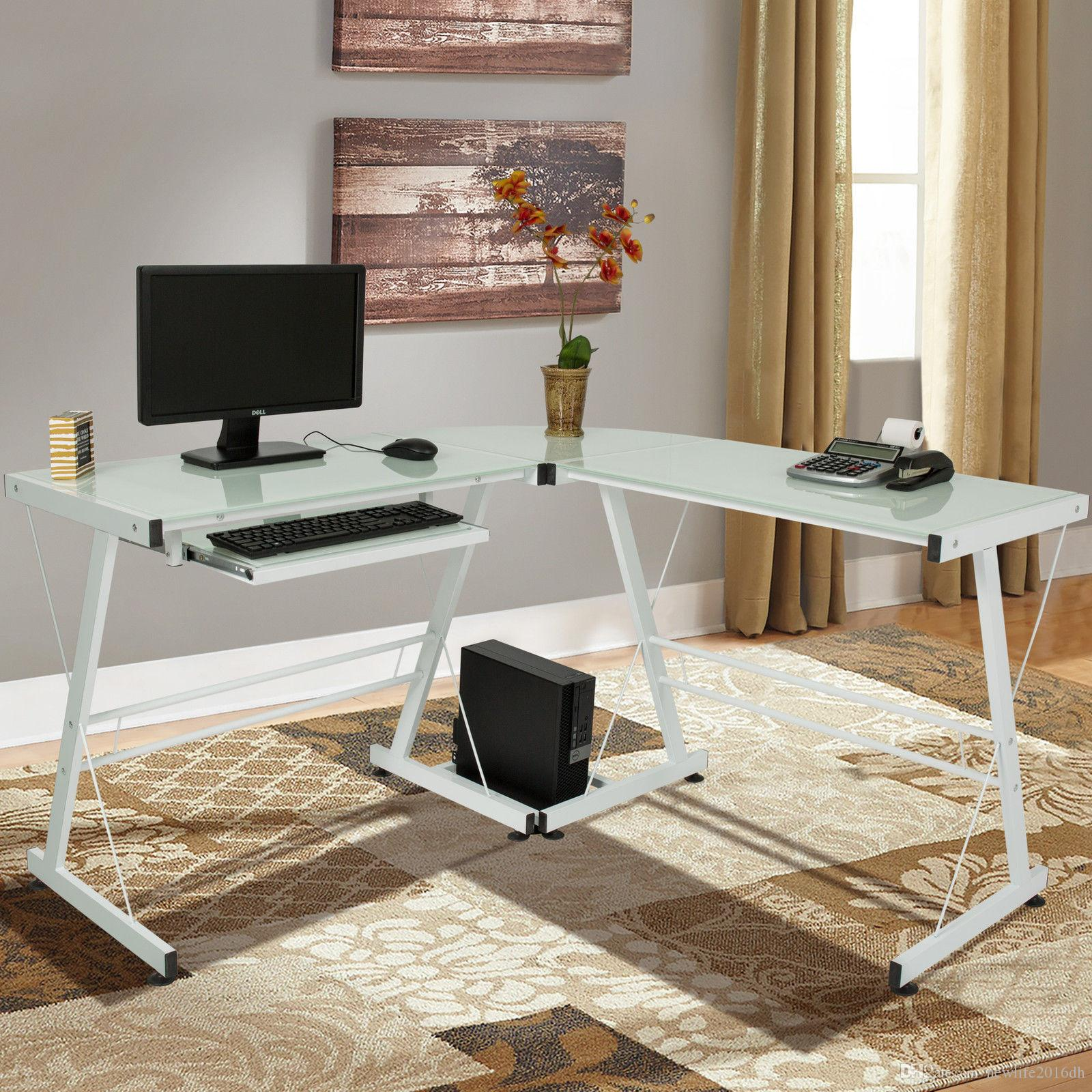 2018 White L Shape Computer Desk Pc Glass Laptop Table Workstation Corner Home Office From Newlife2017dh 66 34 Dhgate Com