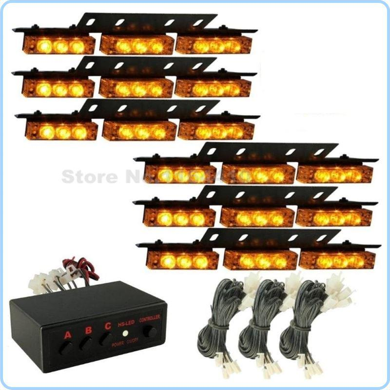 Dragging Six CSPtek 54 LED Lamp Amber Yellow 3 Modes Strobe Police Emergency Flashing Warning Net Light For Car Truck Vehicle A6