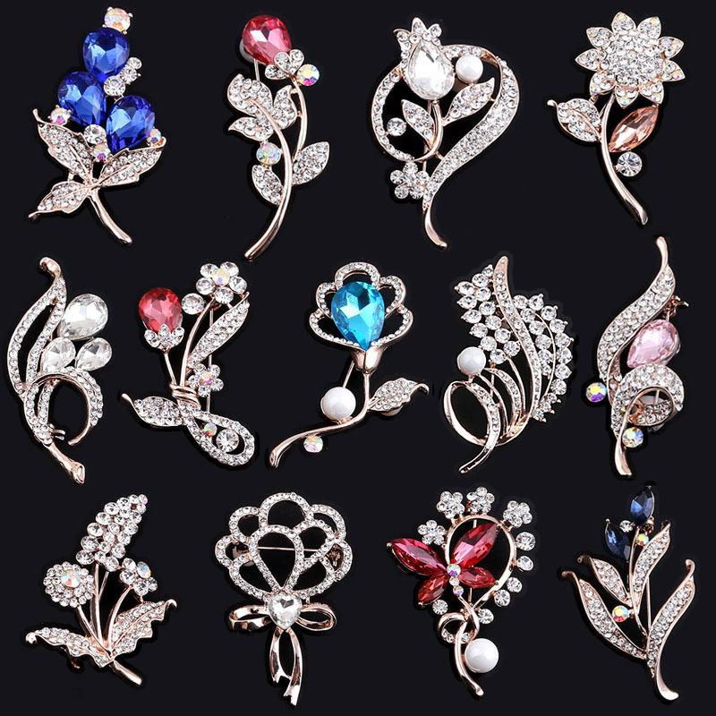 a5e2c9971af 2019 Elegant Tulip Flower Brooch Pin Rhinestone Crystal Costume Jewelry  Clothes Accessories Jewelry Brooches For Wedding From Laputajewelry