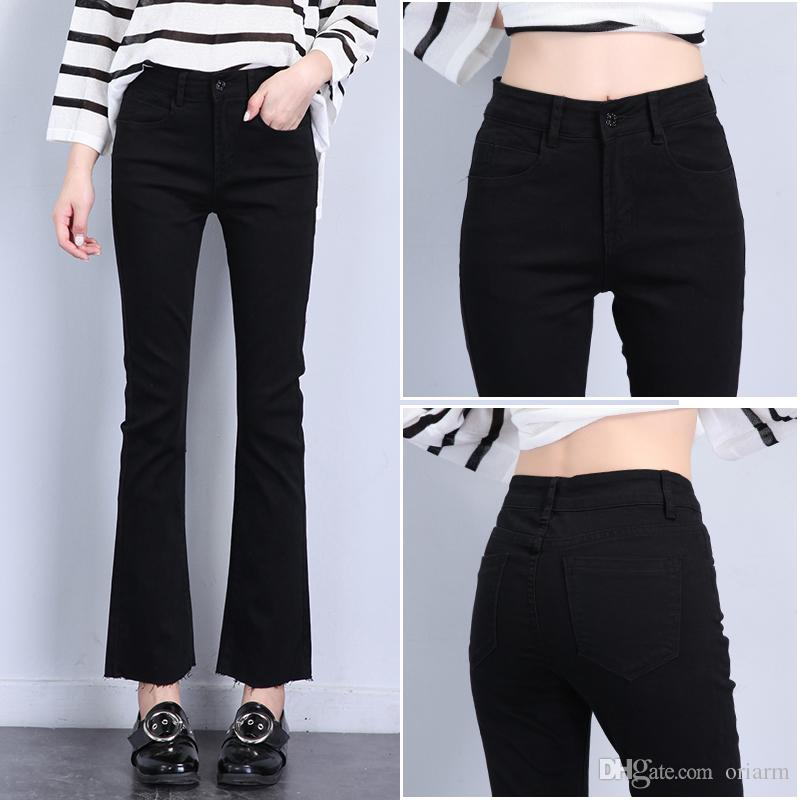 2017 vogue flare skinny black bell bottom jeans for woman pants