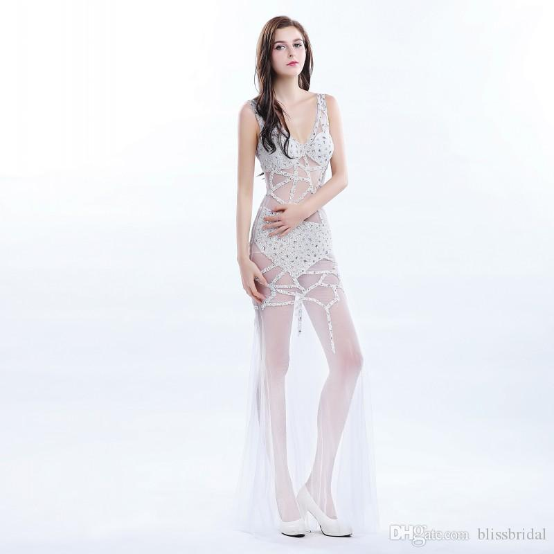 Fashion See-Through Sparkle V-cou Etage Longueur Robe De Soirée Cristal Sequin Tulle Sheer Robe Sexy Criss Cross Bandage Club Porter Des Robes De Bal