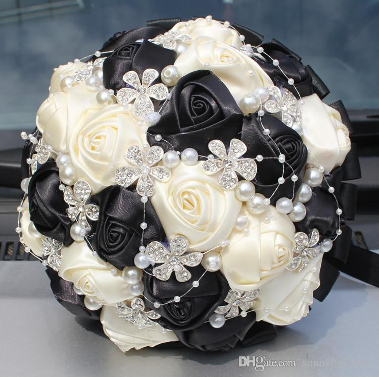 White And Black Wedding Bridal Bouquets Wedding Supplies Artificial