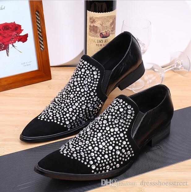 Diamond Spiked Loafers Обувь из натуральной кожи Мужская свадебная обувь Роскошный итальянский стиль Мужские черные туфли