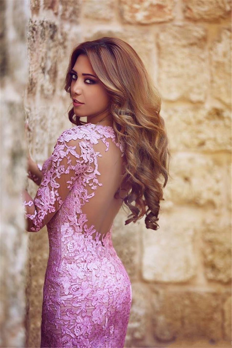 2017 Elegant Lace Mermaid wedding Dresses long Sleeves Sheer Illusion Tulle Skirt Formal Arabic Style Red Carpet Dress for bridal