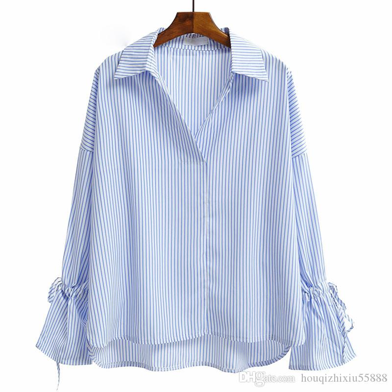 0cceb56fa7eb26 2019 Casual V Neck Women Blouses Vintage White Blue Striped Shirt Women  Long Flare Sleeve Tops Loose Camisas Mujer From Houqizhixiu55888