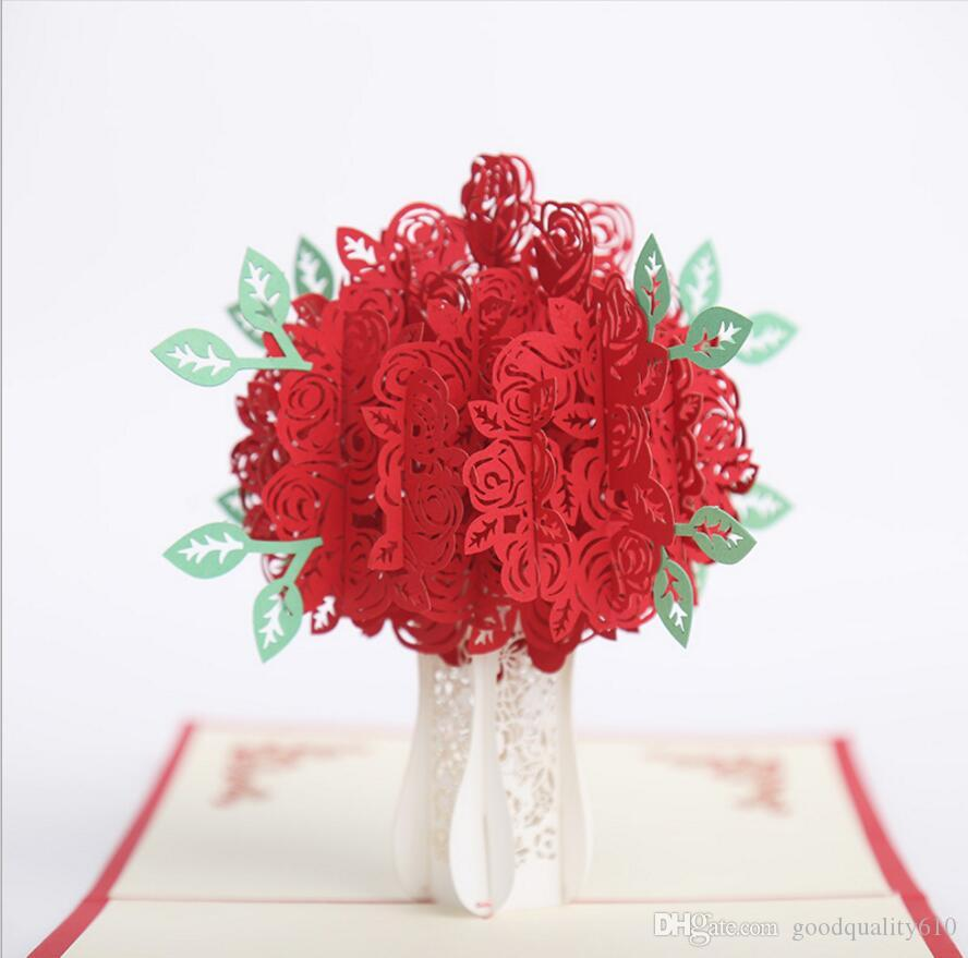 Hollow rose flower handmade kirigami origami 3d pop up greeting hollow rose flower handmade kirigami origami 3d pop up greeting cards invitation card for wedding birthday party gift greeting cards online with mightylinksfo