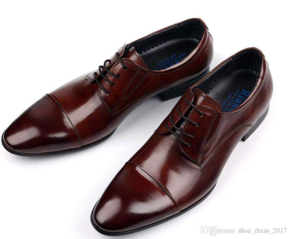 Acquista 2017 Marca Vintage Classico Uomo Scarpe Formali In Vera Pelle  Marrone Nero Italiano Uomini Scarpe Da Lavoro A  148.63 Dal Shoe dress 2017   54f1e2d6ab4