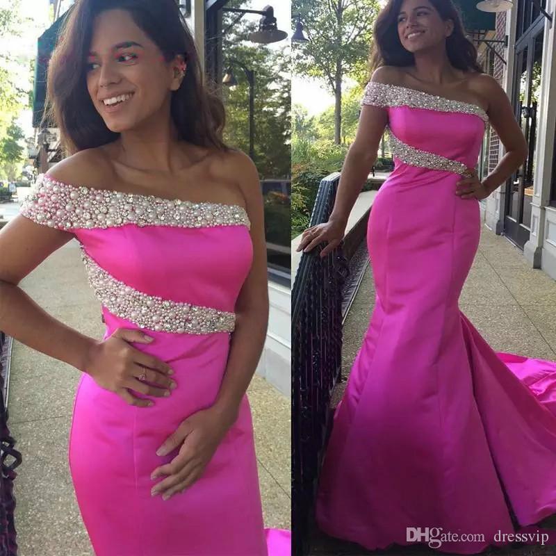 Compre Vestido De Fiesta De Sirena Rosa Satinado Hermoso Vestido De ...