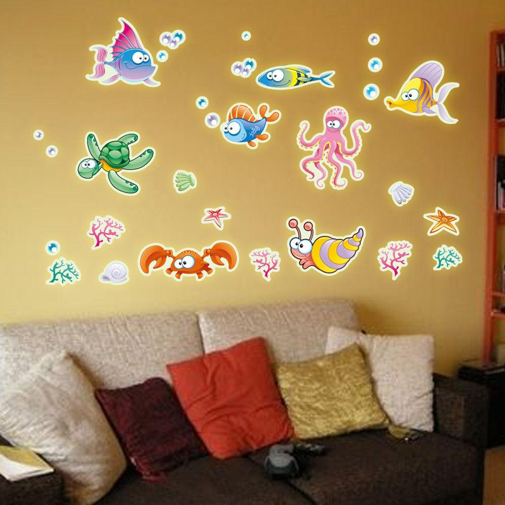 Y0019 Delicate Dolphin Shape Wall Stickers Home Decoration Fashion Luminous Fluorescent Stickers Wall Stickers Children's Room