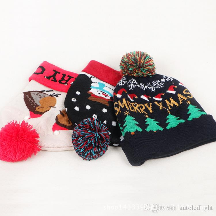 Knitting Pattern Christmas Lights : Unique Knit Hat Christmas Knitted Pattern With Led Light Christmas Beanie Led...