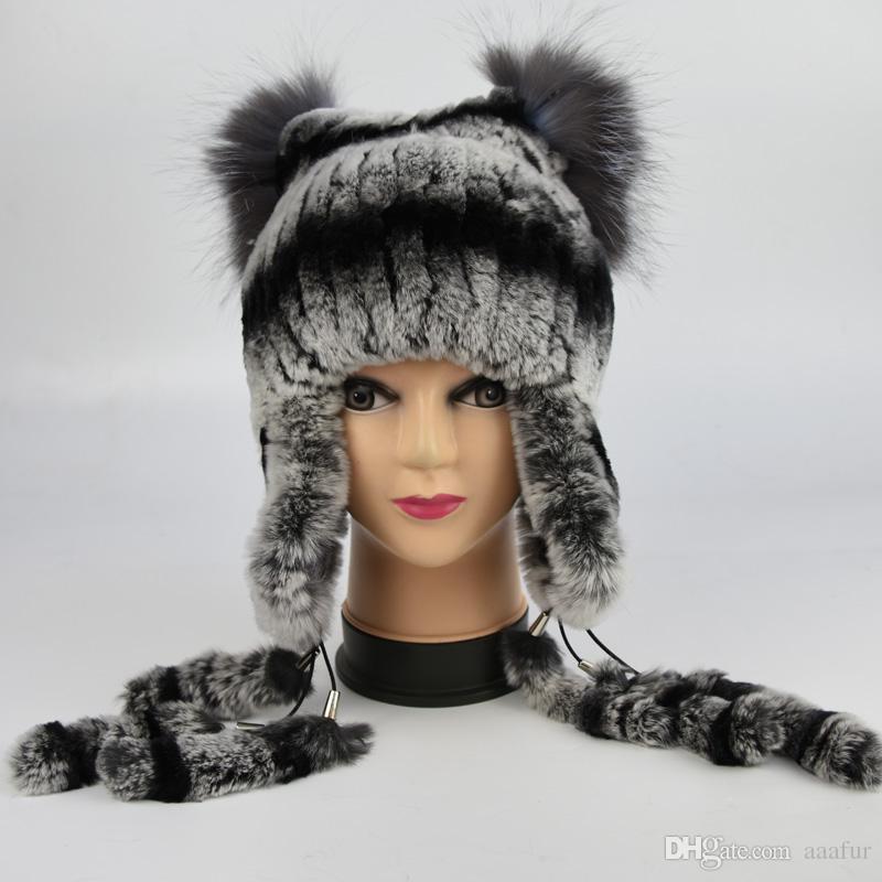 d7020758220f5 New Women S Real Rabbit Fur Hat Knitted Luxury Rex Rabbit Fur Ear Protector  Caps Winter Warm Real Silver Fox Fur Headwear Beach Hats Beanie Hats For  Men ...