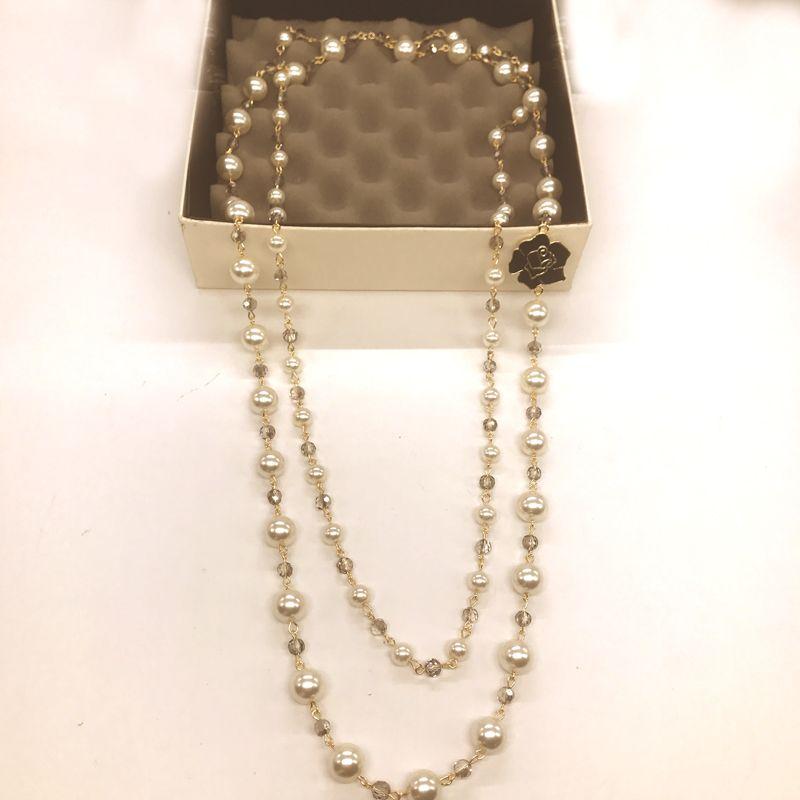 New 2017 kpop fashion black enamel camellia flower imitation pearl crystal long necklace wholesale collier femme/neckless/colar/collana