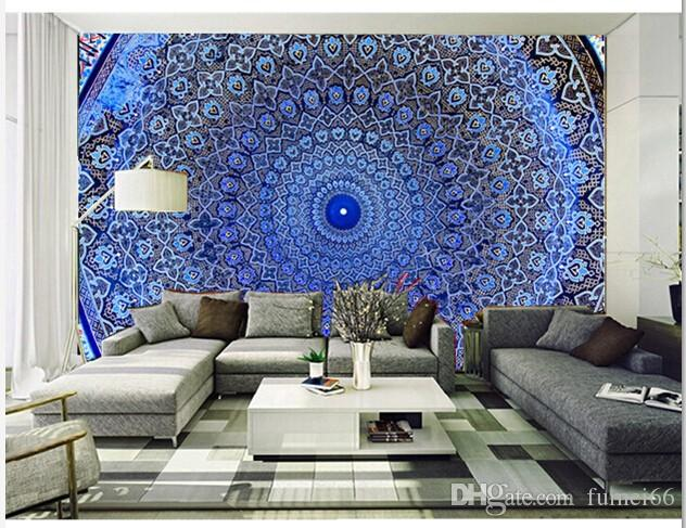 Custom 3D retro wallpaper,Dome Of The Mosque,Oriental Ornaments From Samarkand,for living room bedroom ceiling wallpaper