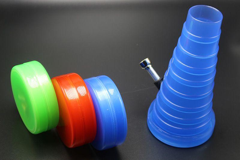 / 2016 New Arrivel Disponível bolso dobrável Bong Com 3 cores Plastic Água Bongos 20 centímetros Extensible Altura de alta qualidade Bongs