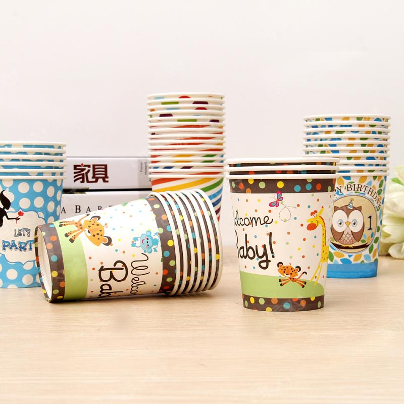 Wholesale- 2017 New Disposable Birthday Party Cartoon Cup Striped Tableware  Paper Cup Valentine Birthday Party Wedding Decoration Supplies