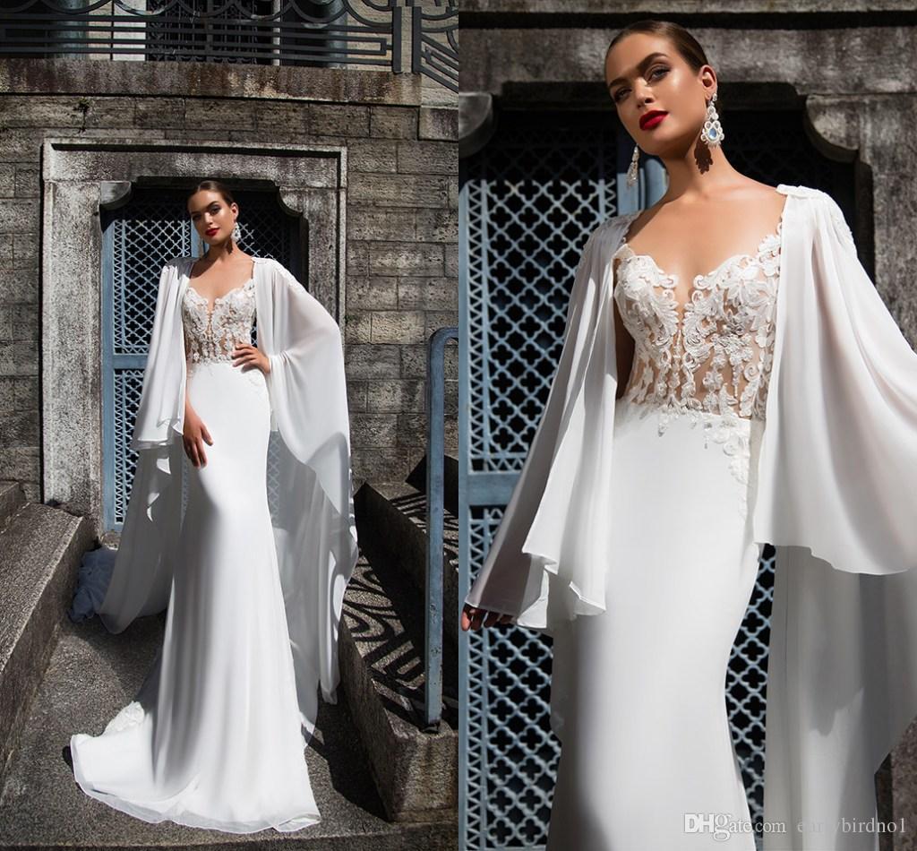 2017 New Design White V Neck Mermaid Wedding Dresses With