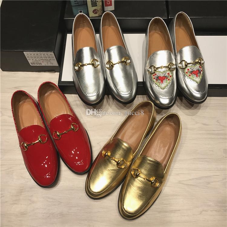 5304d19e65b New 2018 Genuine Leather Ladies Loafers Womens Shoes Horsebit Flat Heels  Slip On Dress Wedding Party Shoes Spring Fall Mens Loafers Formal Shoes For  Men ...