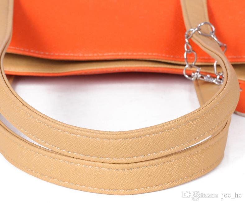 Mais novo Design de Moda Bolsas de Ombro de Couro de Duas Tons Bolsas Para As Mulheres, PU de Couro Pêssego Senhora Pingentes de Coração Totes Barato Mulheres