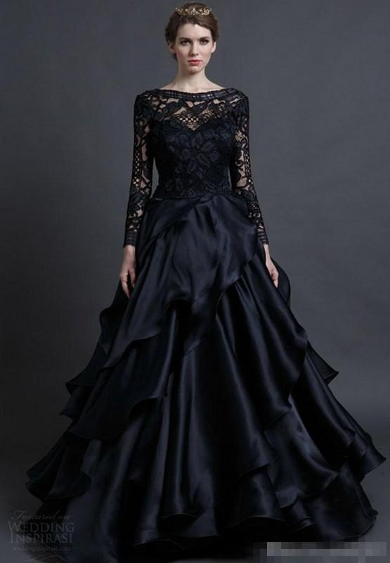 Modest Pnina Tornai 2017 Black Lace Long Sleeve Gothic Wedding Dresses Plus Size Vintage Gothic Ruffles Tiered Skirt Country Bridal Gowns