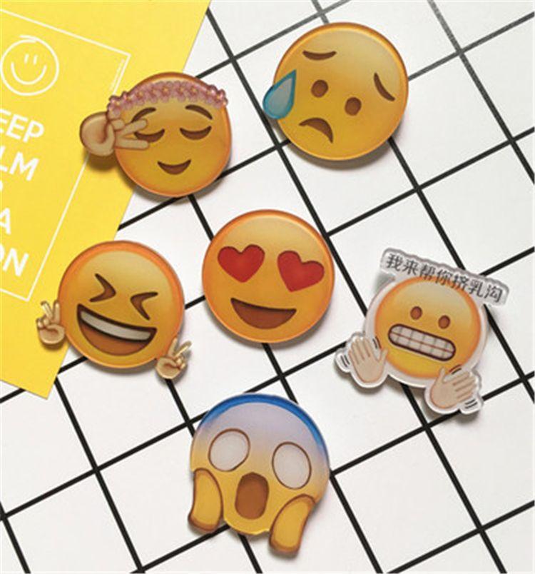 Lindos pernos Harajuku Insignia Emoji Broche acrílico para ropa unisex Insignia Rozet Collar decorativo Solapa Emoji Brooch A0529