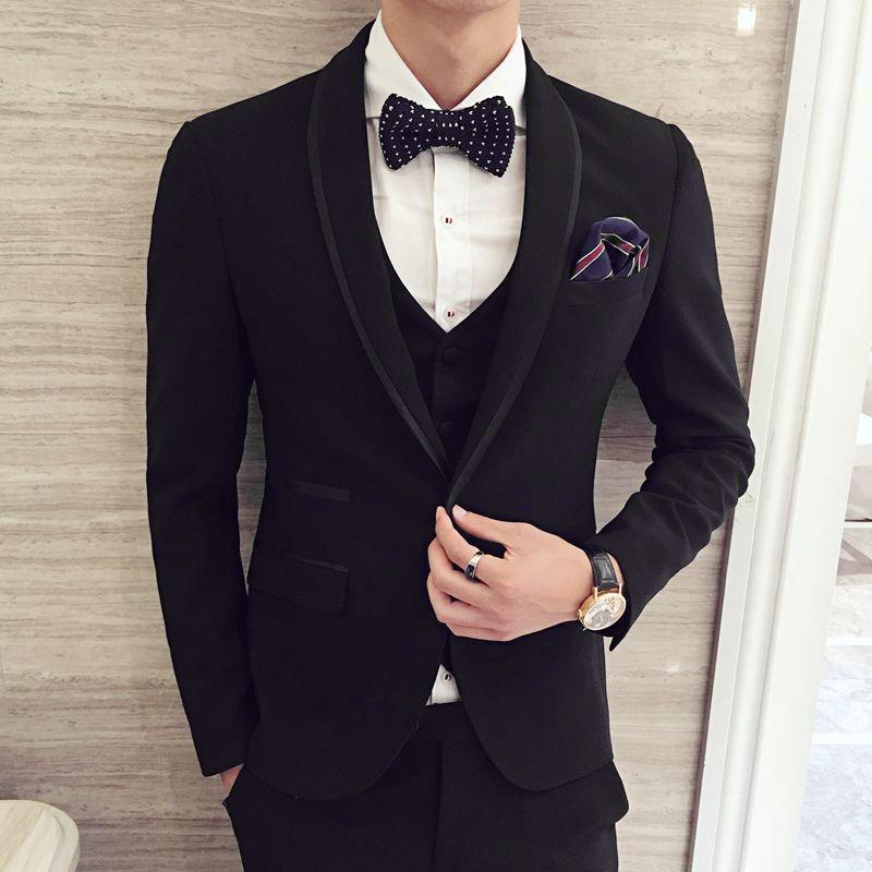 Wholesale- Black Tuxedo Mens Prom Suits Wedding Suit For Man Latest ...