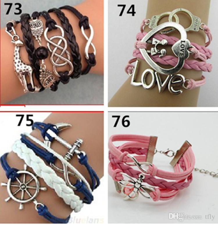 2017 New DIY 77 Designs Leather Bracelet Antique Cross Anchor Love Peach Heart Owl Bird Believe Pearl Knitting Bronze Charm Bracelets