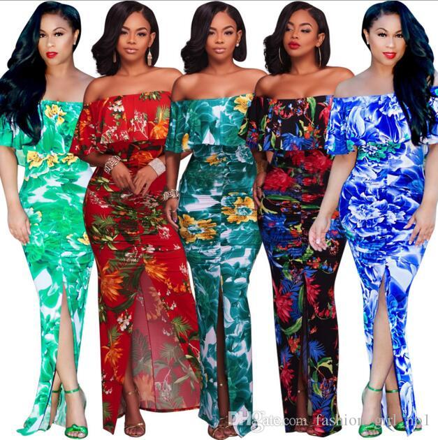 131319b1b2b 2017 Hot Bohemian Maxi Rompers Long Casual Summer Printing Dresses Cheap Plus  Size Printed Chiffon Dresses Halter Neck Sexy Backless Split Maxi Dress Red  ...