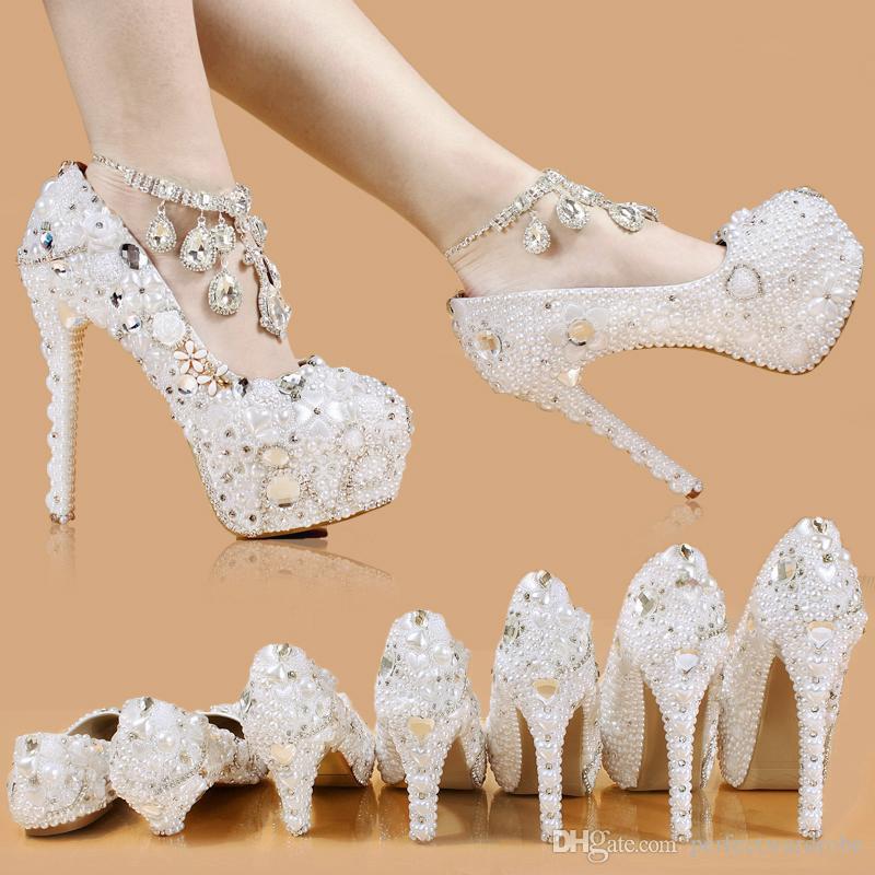 73d8f0523 2017 Элегантная Свадебная Свадебная Обувь Свадебные перлы Кристаллические  Высоки