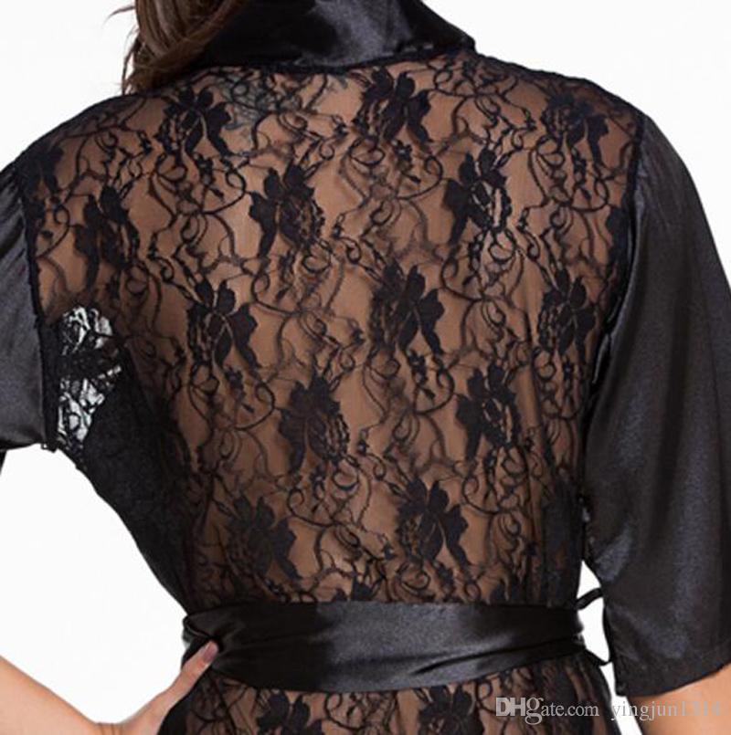Lencería sexy satén encaje negro Kimono Intimate ropa de noche Robe Sexy vestido de noche mujeres Sexy ropa interior erótica