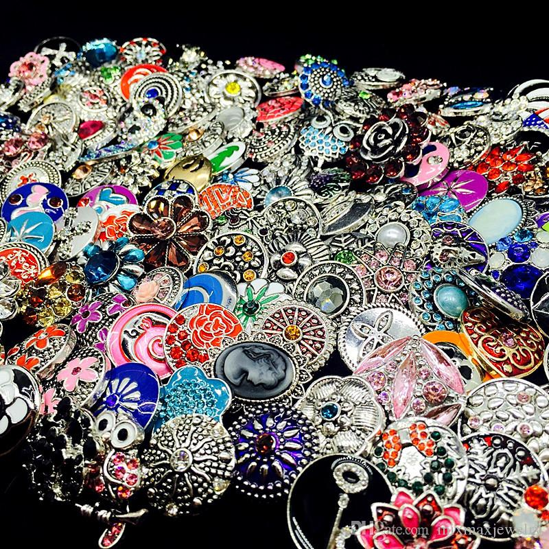 wholesale bulk mix styles Ginger Fashion 18mm metal rhinestone diy snaps button Snap Jewelry Brand New