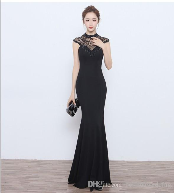 Cheap Prom Dresses Long Black Evening Dresses Gowns Sleeves Backless ...