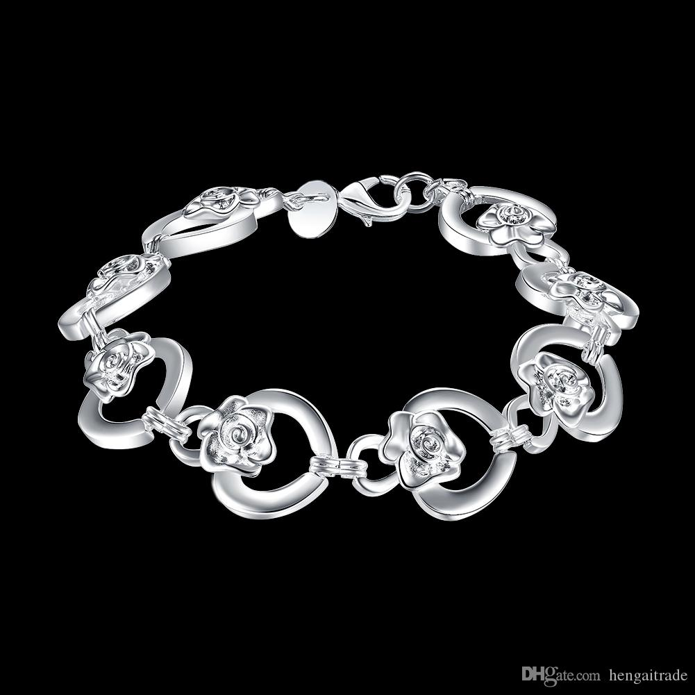 Wholesale 925 Sterling silver plated Lobster-claw-clasps charm bracelets LKNSPCH335