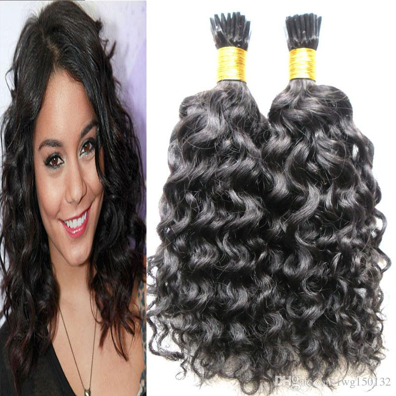 Natural Black I Tip Human Hair Extensions 100s Pre Bonded Fusion