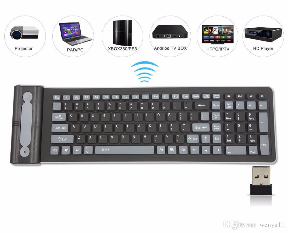 휴대용 2.4G 무선 실리콘 소프트 키보드 107 키 유연한 방수 접는 키보드 포켓 고무 키보드 PC 노트북
