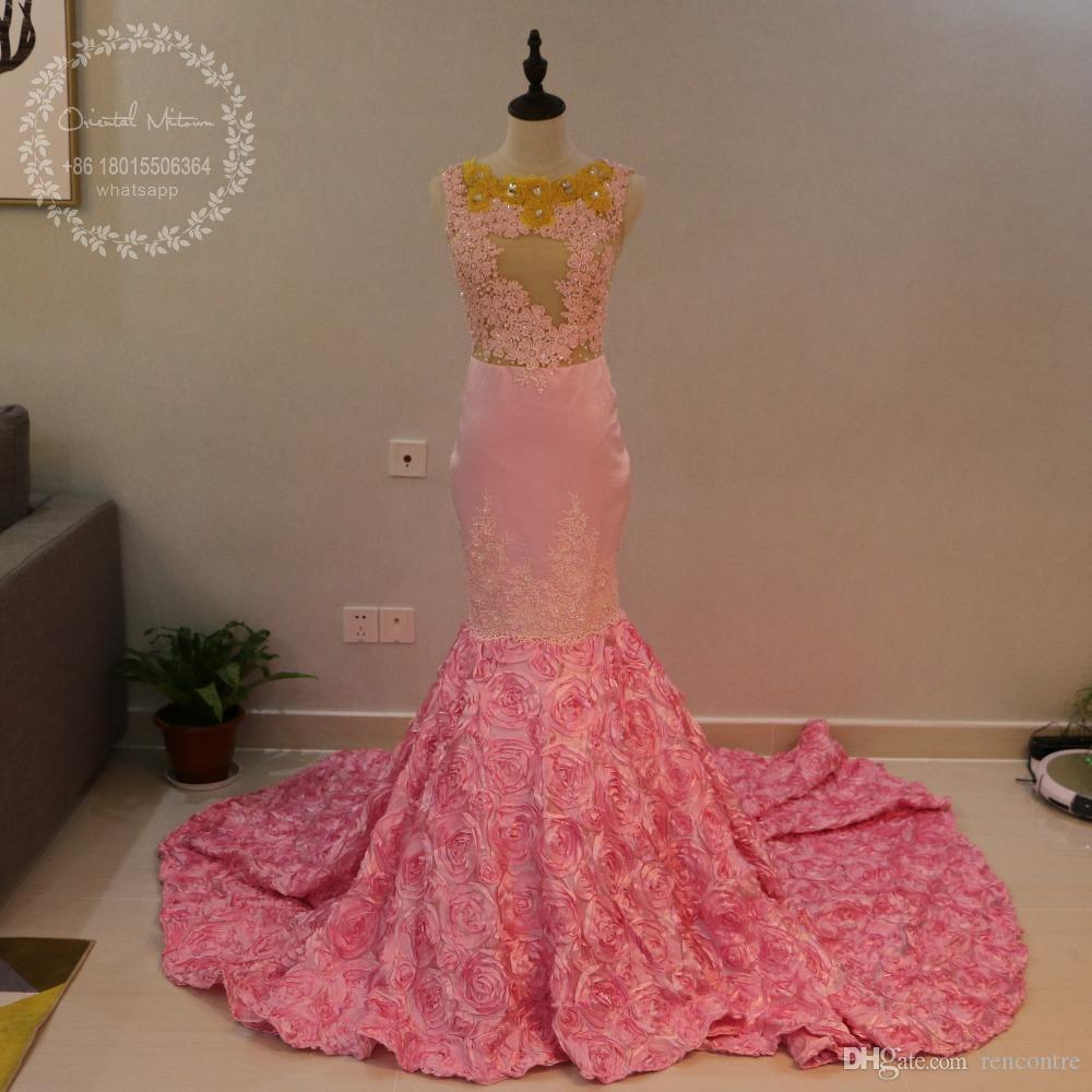 Pink Mermaid African Prom Dresses For Black Girls 3d Rose Flower ...