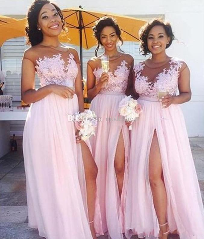Africa Country Bridesmaid Dresses 2019 A line Side Split Cap Sleeve Appliques Pink Garden Wedding Guest Gowns Maid Of Honor Dress Cheap