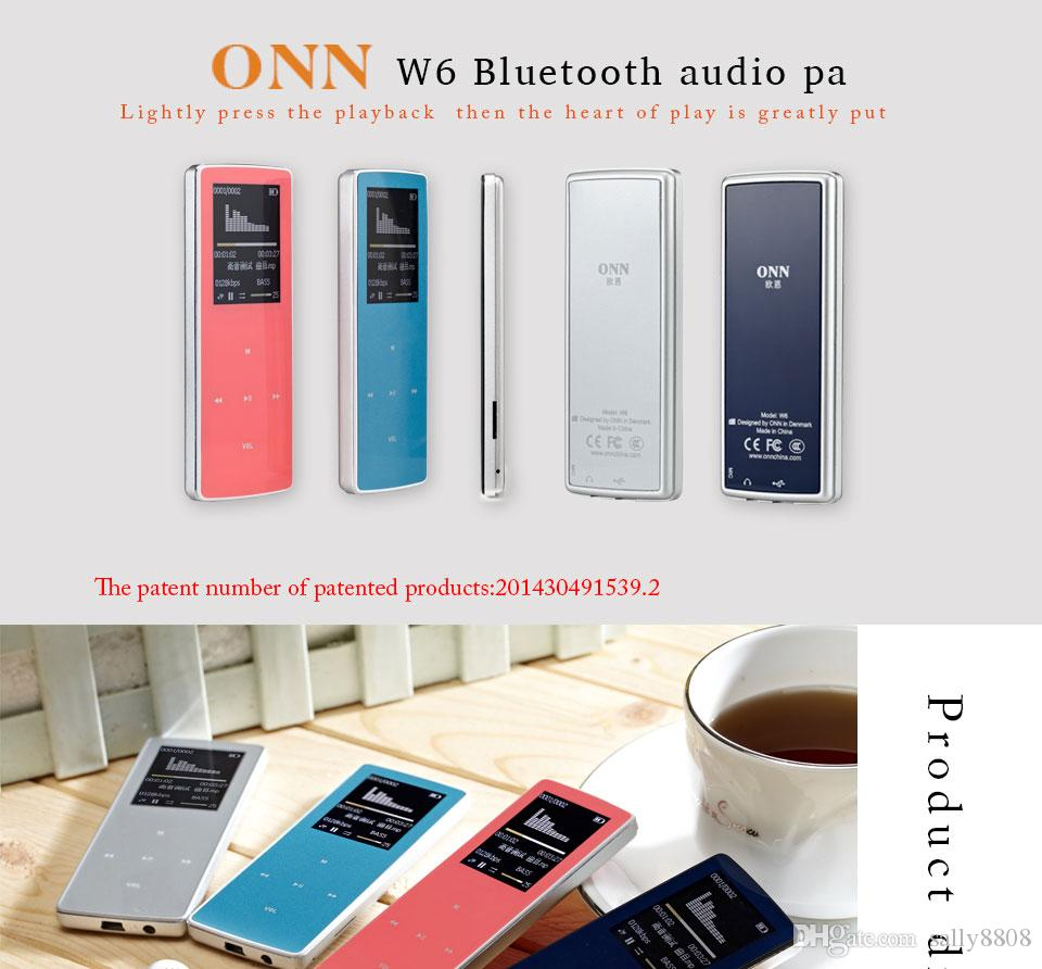 Bluetooth Sports MP3 New Original ONN W6 music Player 8GB with 1.8Inch Screen 100hours high quality lossless Recorder FM Pedometerpink