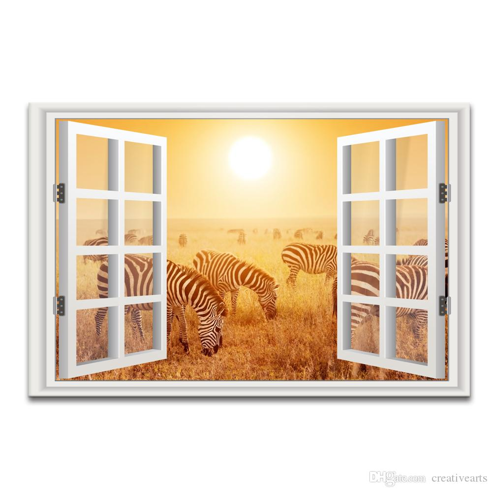 2018 3d Window Landscape Gold Scenery Canvas Painting Zebra Photo ...