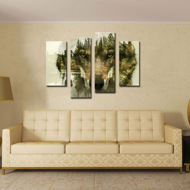 2019 Modern Painting Wall Art Picture For Home Decor Wolf Pine Trees