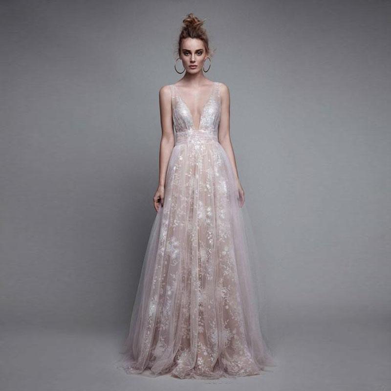 Großhandel Sexy Deep V Neck Lace Prom Kleid Fancy A Line Lange ...